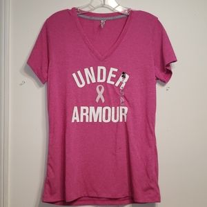 NWT Under Armour breast cancer awareness Top